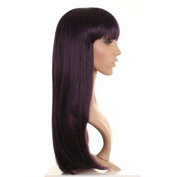 Luna - Long Black and Purple Straight Wig
