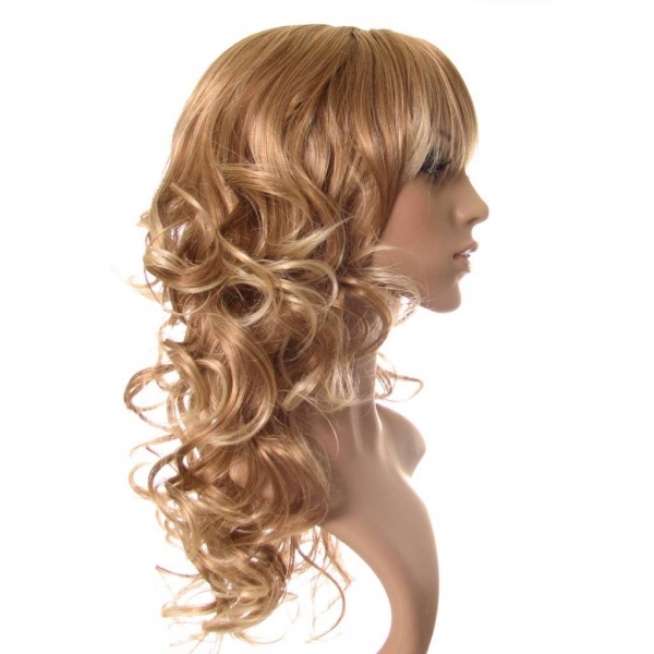 Veronica Long Very Light Brown Curly With Natural Blonde Highlights