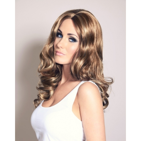 Angelina - Mid brown wavy curly wig with blonde highlights ... 449019ddffdb