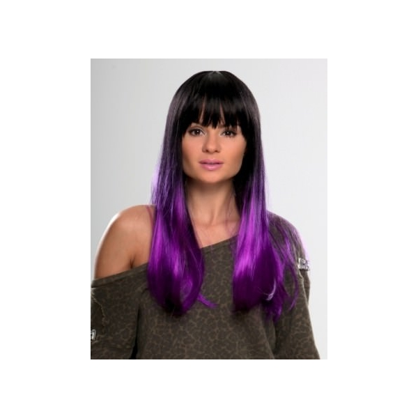 Tash Black And Purple Dip Dyed Wig
