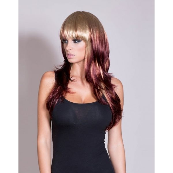 Kimberly - Blonde and Red Reverse Dip Dye Wig