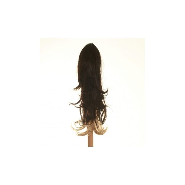 Flicked clip in ombre dip dye ponytail hairpiece in Dark Brown and Blonde